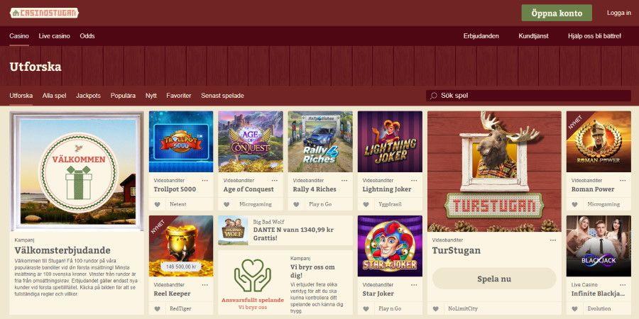 Casinostugan Fa 100 Omsattningsfria Freespins Pa Popularaste